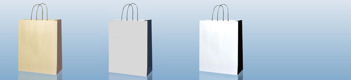 sacchetti di carta generici e neutri: versioni bi-color Crema con soffietto Marrone, bi-color Grigio con soffietto Blue Navy e bi-color Bianco con soffietto Nero