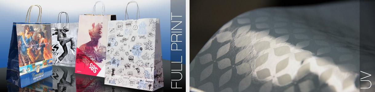 Shopper di carta con manico cordino: stampa fondo pieno e uv