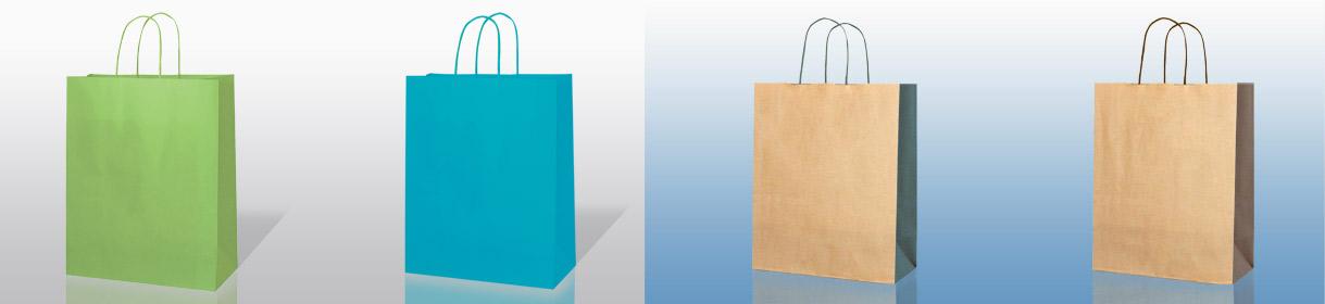 colori e versioni sacchetti di carta generici: Verde Mela, Turchese, bi-color Avana con soffietto Verdone e Avana con soffietto Marrone